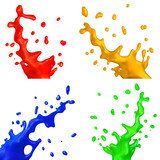 set of isolated colorful bursts
