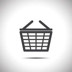 supermarket shopping basket vector icon