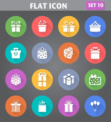 Gift Box Icons set in flat style with long shadows.