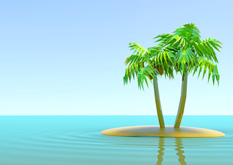 the desert island with palm trees