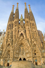Barcelona - East facade of Sagrada la Familia cathedral