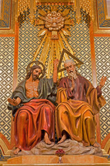 Madrid - Statue of Trinity from altar of Almudena cathedral