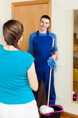 Girl meeting smiling cleaner