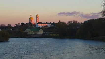 Church near the river timelapse