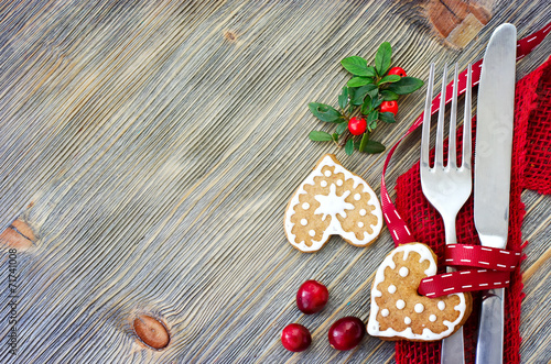 Christmas table setting with christmas decorations copy space - 71741008