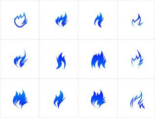 Gas fire icon set