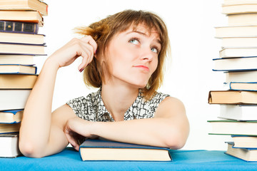 Girl with books isolated on white background. In the library