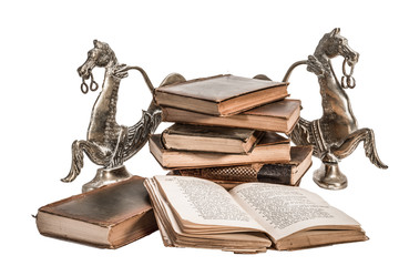 Old Books with coper horse book stops