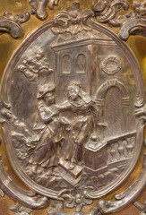 Trnava - metal relief of Vistiation of Virgin Mary by Elizabeth