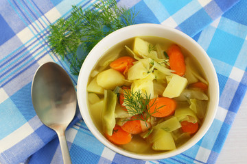 Vegetable soup in bowl