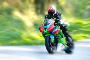 Motorcyclist in motion
