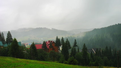 rain in Carpathian Mountains summer, timelapse