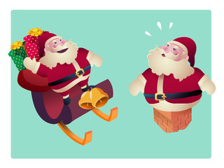 Set of Santa Clauses  for christmas  vector illustration