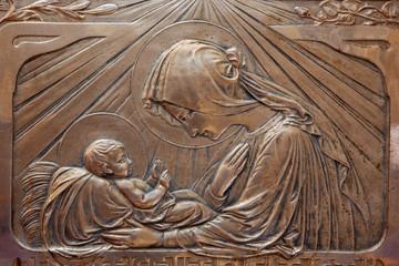 Trnava - The metal secession relief of Madonna with the child