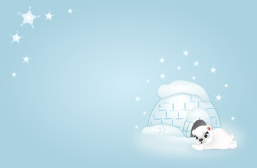 Background with polar bear and igloo