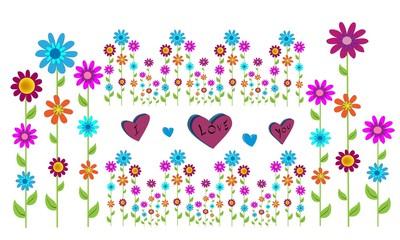 Flores de colores con I love you.