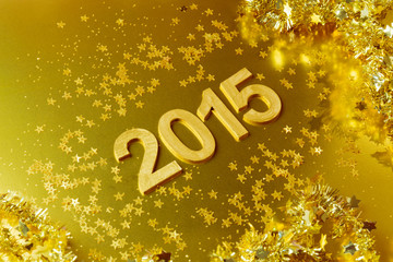 New Year 2015  golden background