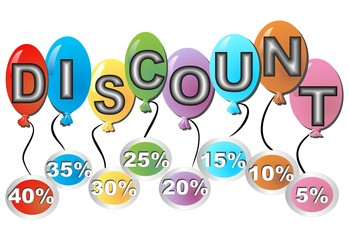 Colorful balloons with the inscription discount