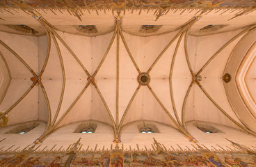 Trnava - The ceiling in nave of gpthic St. Nicholas church.