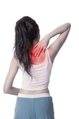 Pretty Asian girl has  back  pain