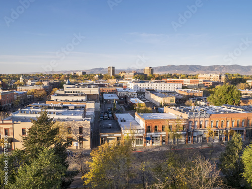 Tuinposter Luchtfoto Fort Collins downtown