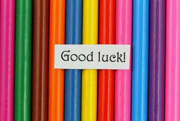 Good luck card on colorful pencils