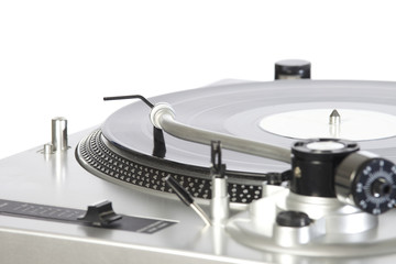 turntable with a vinyl isolated on white background