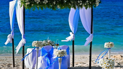 Wedding decorations on the beach