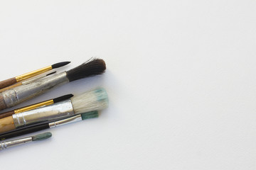 white canva with brushes