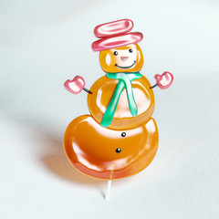 Snowman cookie made of caramel (Christmas Souvenir)