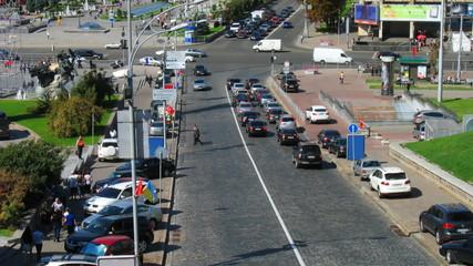 timelapse of traffic in center Kiev, Ukraine
