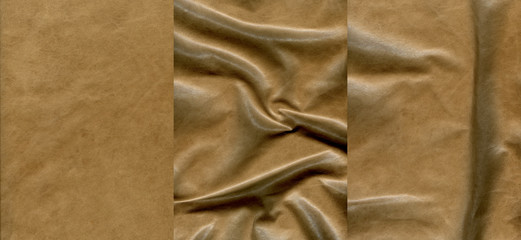Set of light brown leather textures