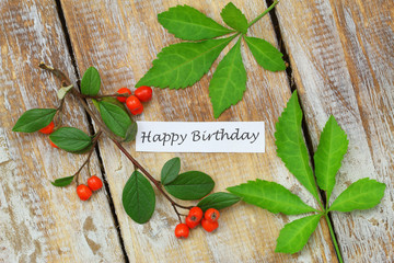 Happy birthday card with rowanberries and green leaves