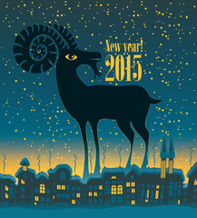 Christmas card with a goat on a background of night city