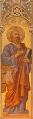 Trnava - The neo-gothic fresco of st. Luke the evangelist