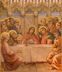 Trnava - The neo-gothic fresco of fhe Last supper
