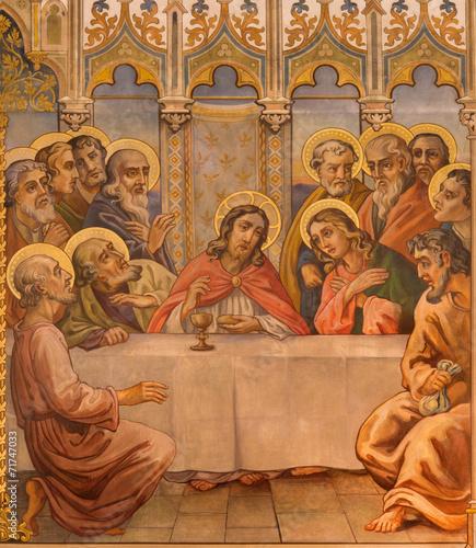 Trnava - The neo-gothic fresco of fhe Last supper - 71747033