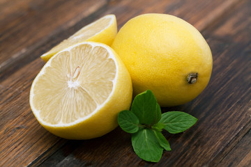 Lemon with a sprig of min.
