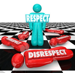 Respect Vs Disrespect One Person Winner Standing Chess Board