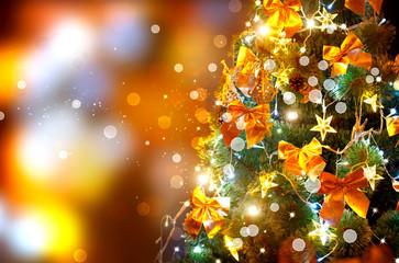 Christmas holiday blinking background. Decorated christmas tree