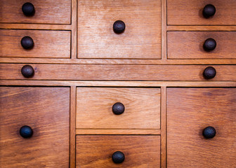 Closeup on old vintage wooden drawers