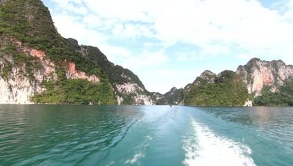 Boats on the lake Dam Ratchaprapa SuratThani thailand