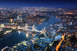 London at night with urban architectures and Tower Bridge - 71748803