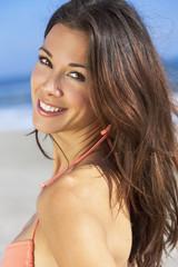 Beautiful Brunette Young Woman Girl in Bikini at Beach