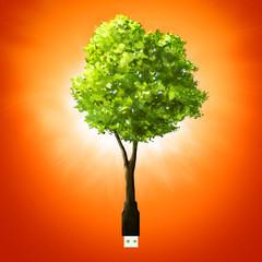 Shining usb stick as tree.