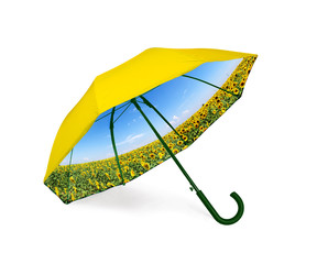 Double sided umbrella with sunflowers view inside