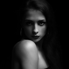 Sexual makeup female model posing. Black and white portrait