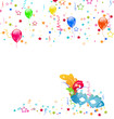 Carnival background with mask, confetti, balloons