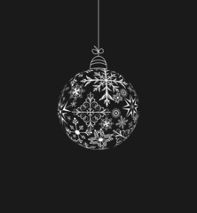 Christmas ball made of snowflakes