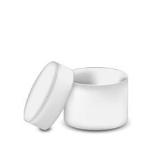 Opened round gift box isolated on white background